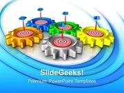 INFORMATION TECHNOLOGY GEAR WITH TARGET TEAMWORK PPT TEMPLATE