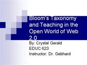 bloom's taxonomy and teaching in the open world