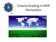 Criteria Grading in MYP Humanities