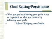 Goal Settings and Persistence