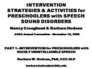 Intervention Strategies and activity