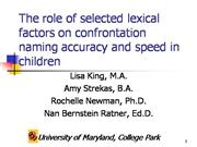 Role of Selected Lexical Factors