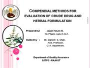compendial method for evaluation of crude drug & herbal formulation