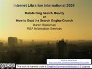 Maintaining Quality Search [Archive]