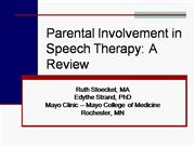 Parental Involvement in Speech Therapy