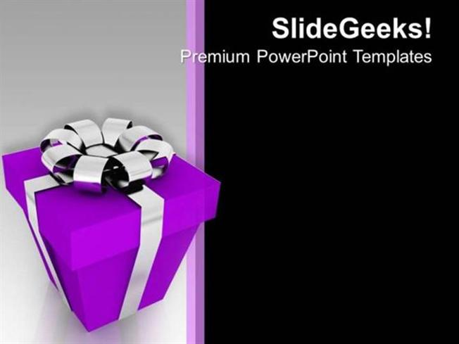 Purple Gift Box Christmas Festival Peace Powerpoint Template