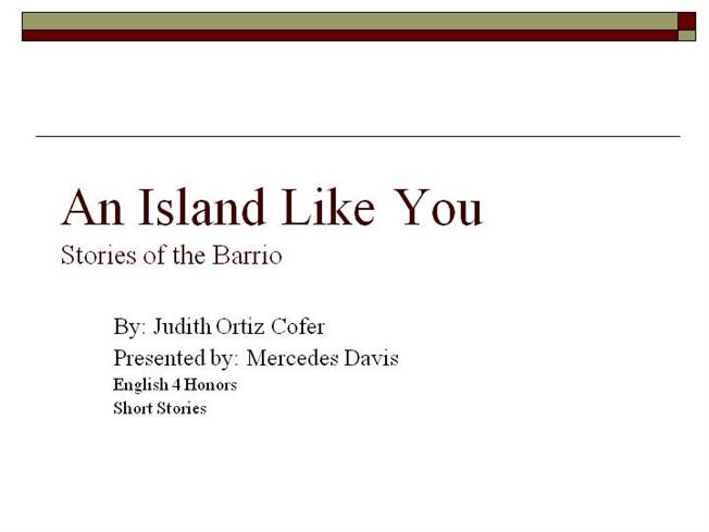 lessons of love short story by judith ortiz cofer