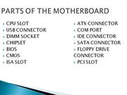 PARTS OF THE MOTHERBOARD