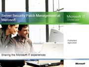 Server Security PatchManagement at Microsoft.