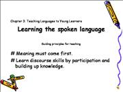 Chapter 3 Learning the spoken language first part