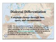 Dialectal Differentiation
