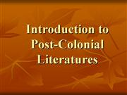 Introduction to Post Colonial Literatures