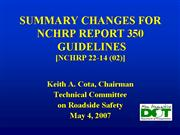 NCHRP 350 UPDATE GUIDELINES 04 27 07
