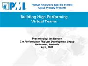 Building High Performance Virtual Teams