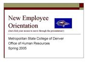 New Employee Orientation 2005