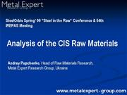CIS raw materials Pupchenko