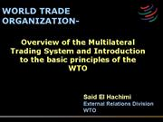 Overview MTS and intro to WTO rev26 march07