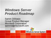 Windows Server Roadmap Indy Users Group