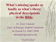 Physical descriptions Bible