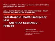 Anthrax and Pan Flu scenario