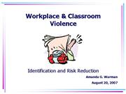 Workplace Violence Faculty Workshop2007