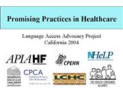 Promising Practices in Healthcare