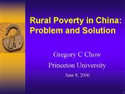 Rural Poverty in China PPT