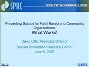 Preventing Suicide for Faith Basedand