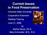 Current Issues Food Preservation 6 21 06