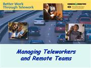 Telework Workshops Managing Teleworkers