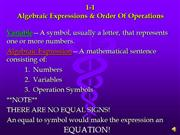 M 1-1 Alg Expressions & Order Of Ops