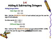 M 1-4 Adding & Subtracting Integers