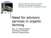 Need for advisory services in organic farming