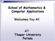 School of  Mathematics & Computer Applications