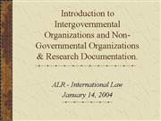 Introduction to Intergovernmental Organizations an