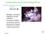 TEAT Self study PPT 2007