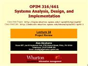 opim316 lectures 24 project review