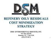 DSM Refinery Oily Residuals Cost Minimization Prog