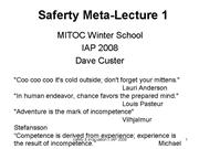 Safety Lecture I 2008