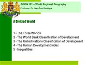 Geog 001 Divided World