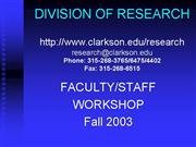 faculty dor workshop