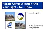 Right to know Presentation Revised Spring 2007