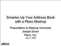 Joseph Smarr Plaxo Mashup University Talk