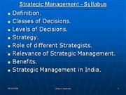 Strategic Mangement for Under Graduates