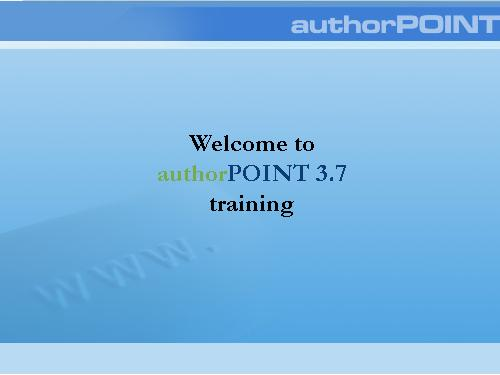 Getting started with authorPOINT
