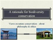 a rationale for biodiversity conservation