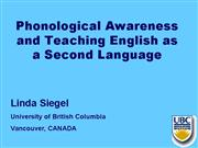 Phonological Awareness And Teaching ESL1 |authorSTREAM