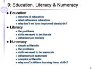 Education Literacy and Numeracy