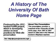 A History of The University Of Bath Home Page