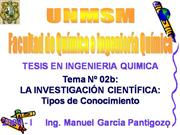 LA INVESTIGACION CIENTIFICA -TIPOS DE CONOCIMIENTO